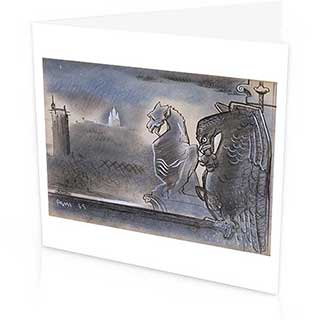 Gargoyles & Monmartre Greetings Card, Peter Yates 1945