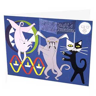 Mrs Midnight Animal Comedians Greetings Card, Peter Yates 1953