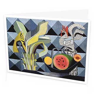 Banana Palm and Cockerel Greetings Card by Peter Yates, 1954