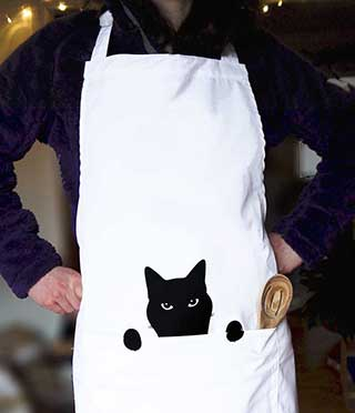 Cat cooking Apron Catmother  kitchen embroidered apron