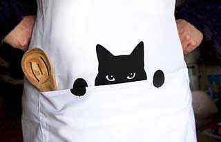 Cat Apron, Kitchen Apron for Cat Lovers and Cat Chefs