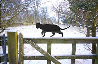 Garden Cat, Black Metal Prowling Cat