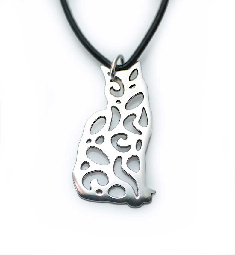 Silver Cat Pendant, Small