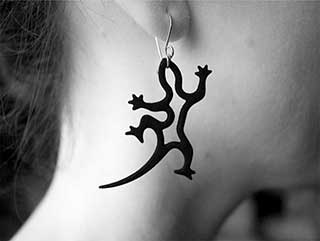 Gecko Earrings, Matt Black