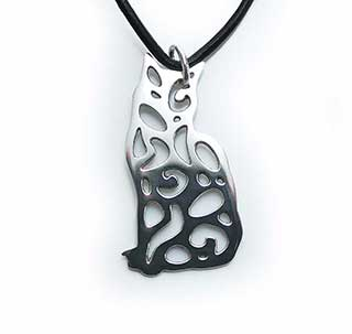 Silver Cat Pendant, Small Silver Cat Jewelry