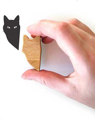 Peeping Tom Stamp, Black Cat Rubber Stamp