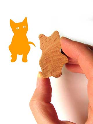 Kitten Stamp, Wooden Stamp