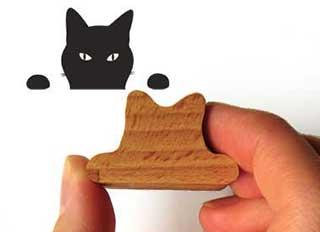 Black Cat Rubber Stamp