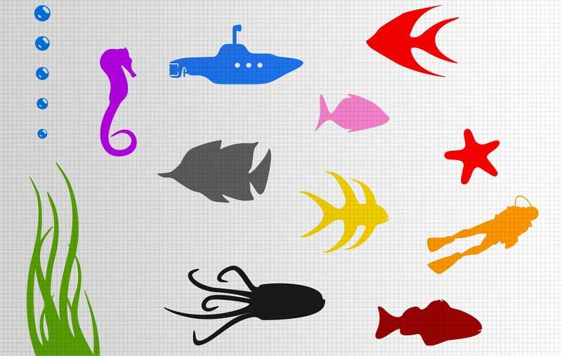 Fish Stickers Underwater Sea Bathroom Scene Wall Stickers - Underwater wall decals
