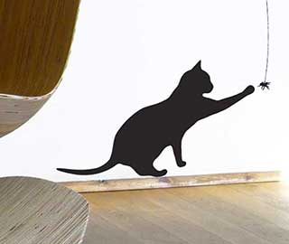 Cat Wall Sticker, Cat Lover Gift Cat and Spider Decal