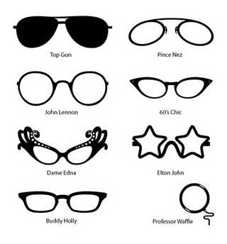 Comedy Fun Glasses Mirror or Wall Stickers