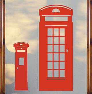 Telephone and Post Box Set Wall Stickers