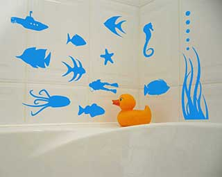 Fish Stickers, Underwater Sea Bathroom Scene Wall Stickers Part 75