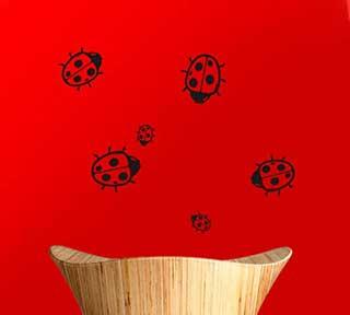 Ladybug Family Window or Wall Stickers