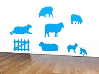 Sheep Wall Stickers, Fluffy Lamb Decals