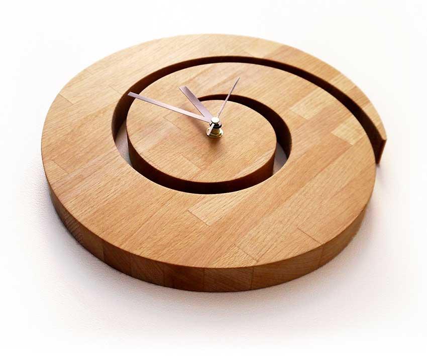 Wooden Spiral Wall Clock