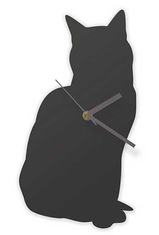 Cat Wall Clock, Black Sitting Cat