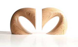 Bow Wooden Bookends, Sculpted Birch (pair)