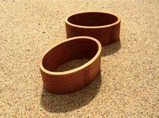 Wooden Napkin Rings, 2 x Oval