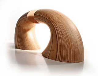 Wave Wooden Bookends, Sculpted Birch (pair)