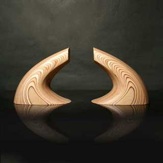 Wave 2 Bookends, Sculpted Birch (pair)